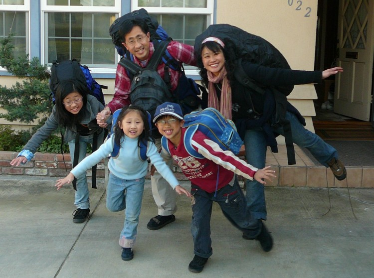 Just before leaving for our 2008 backpacking trip.