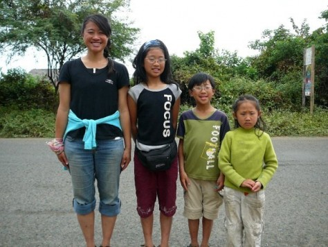 Comparing our height during our South America Backpacking trip in 2008. Olivia was 11, Nathan 8, and Joani 6.