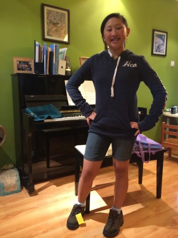 Joani trying out the new hiking shoes she will be wearing for the next year.