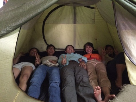 Testing sleeping all five in a tent!