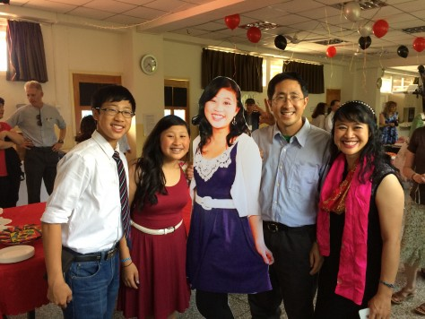 We took a photo with a life-size cutout image of Olivia, symbolizes how to cope with our life without Olivia after she leaves.