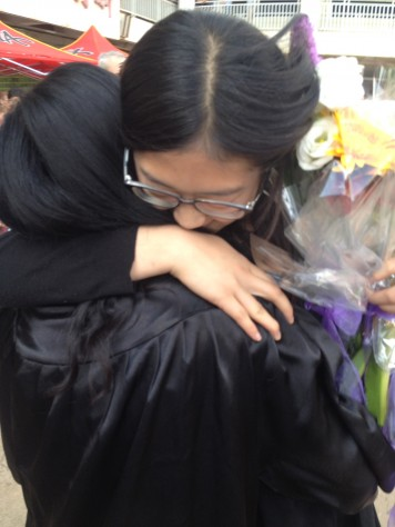 All the students hugged and took photos as they say goodbye.