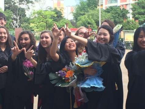 Olivia celebrated her graduations with her classmates
