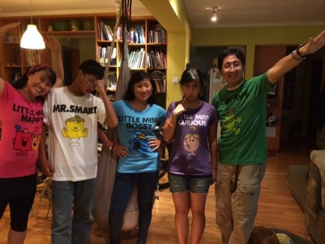 We each got a T-shirt for our trip: Little Miss Happy, Mr. Smart, Little Miss Bossy, Little Miss Curious, Mr. Brave.