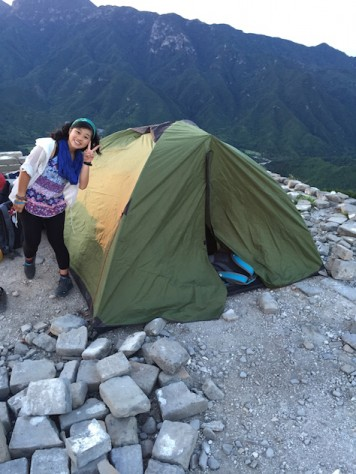 We pitched out tent on top of the best viewing point in Jiankou Great Wall.
