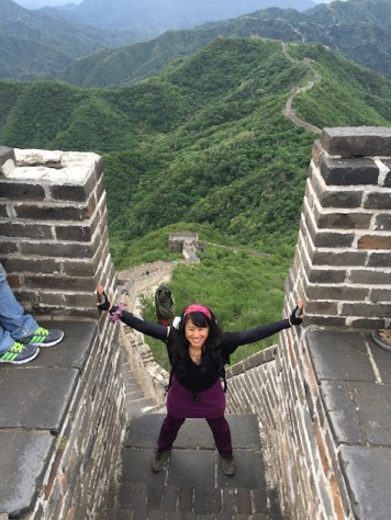 We happily came down from the top of the Mutianyu Great Wall meeting all the tourists who were climbing up.