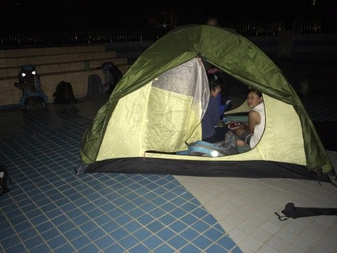 At 1AM, we secretly went to the pool and set up a tent for the night.