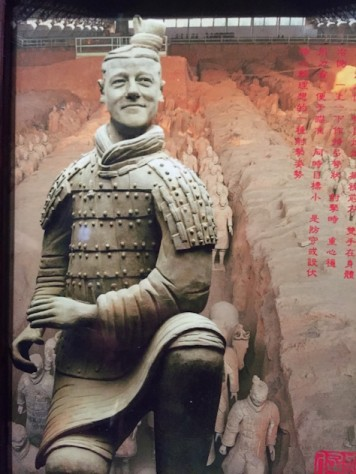 Each terra-cotta warrior has an unique face. Here is one based on president Clinton!