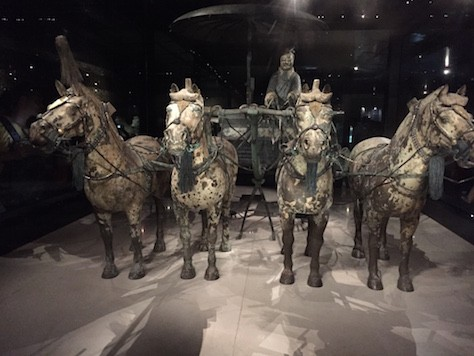 These bronze chariots  were very intricacy made, making them very life like.