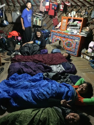 We slept on top of a sheep felt carpet together with Begz's family on the floor of their ger.