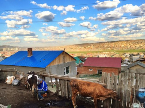A beautiful sunrise view of Ulaanbaator from Begz's home.