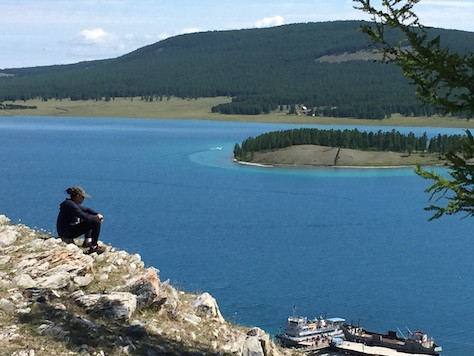 When we arrived, we climbed up a hill to enjoy the panoramic view of Lake Khovsgol.