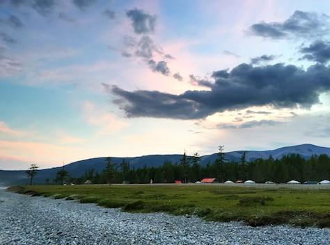 Sunset over Lake Khvosgol at the ger camp.