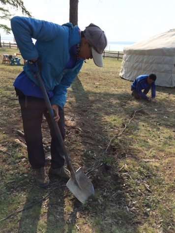 Nathan and Ochka helped to bury the electric wiring that we set up in the ger camp.