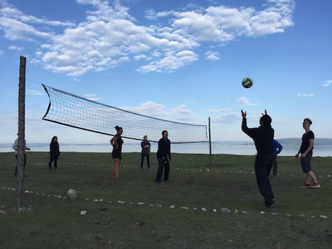 We relaxed by playing on the volleyball court we built that morning.