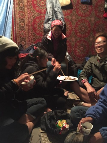 After a hard days work serving the Serbian guests, we had a workers' party in the log cabin eating leftover food and enjoying our snacks.