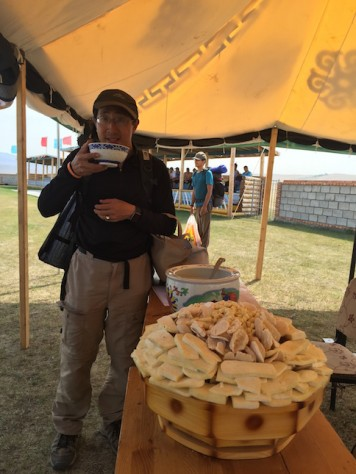 The must have foods during Naadam are milk curds, goats cheese & cream, and mare's fermented milk.