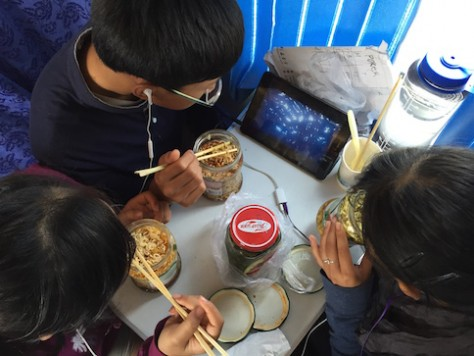 Instant noodle is our staple food while on the train. We learned in Mongolia to use glass jar as container!