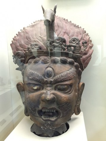 The buddhist statue at the Gansu Museam represents the fierce and angry nature of the Tibetan version of buddhism.