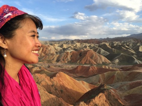 The sunset at Danxia geological park was colorful.