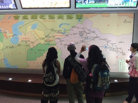 At the Jiayuguan Gate Museum, the tour guide showed us the various paths of the Silk Roads.