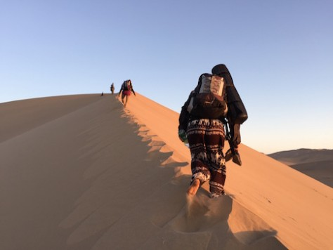 It was a long hike up the crest of the sand dune as we sinked down the sand with every step we took.