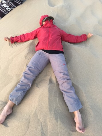 Joani had lots of fun doing 'Sand Angels' on the sand dune.
