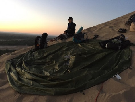 We used the tent canvas as a floor covering and camped on top of it.