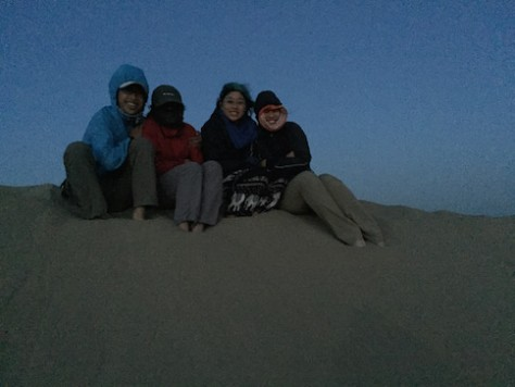 We waited in the cold on top of the sand dune for the sun to rise over the horizon.