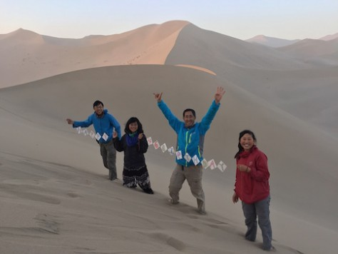 The children surprised me with a birthday banner on top of the sand dune.