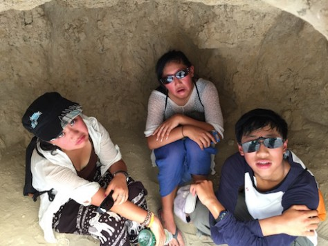 The heat at the ruin city was so hot that we had to take refuge in small caves for brief respite.