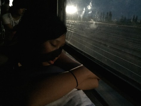 Even at the dead of night, when the train stopped moving, which was quite often, the heat was unbearable except when sitting next to the window crack.