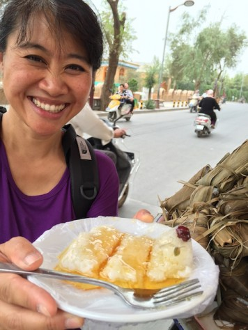 Honey glazed sweet rice dumpling in Kashgar was perfect after every meal.