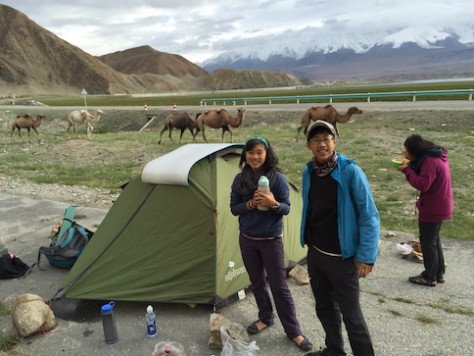 We camped by the roadside on our first night at the Karakul Lake near Tashkurgan.