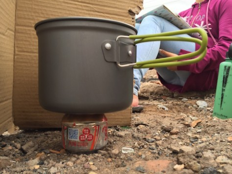 We cooked successfully using the simple aluminum can stove learnt from the Nederland biker.
