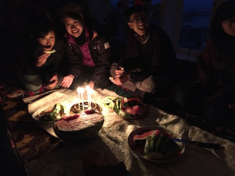 At the homestay in Sara Tash, we had a candle light dinner with other travelers due to electric outage.