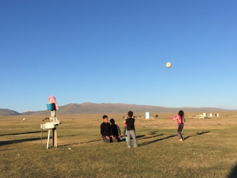 The Kyrgyz children at the Song Kol lake had lots of fun playing volleyball.