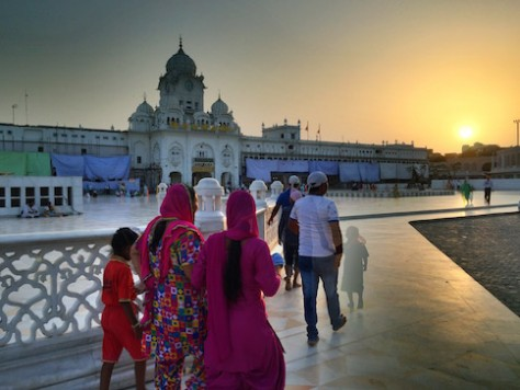 The sun set over the outer wall of the golden temple.