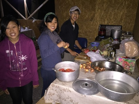 We arrived at the camp at night and immediately began to cook dinner for ourselves.