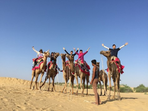 just like the Silk Route in the past, we rode along it on camels through the desert.