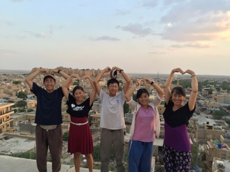"We had fun doing the ""For India"" gesture with the Jaisalmer Fort in the background."