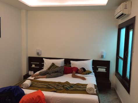 "Nathan enjoyed the cool air-con hotel room in Agra, thanks to the generosity of ""Mr. Mom""."