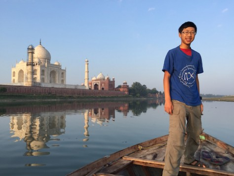 We took a boat ride next to the Taj Mahal in Agra for a quiet sunrise view.