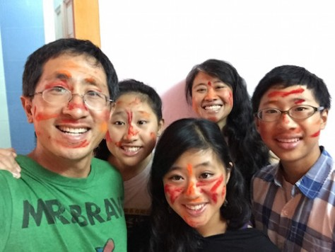The punishment of answering incorrectly for the Best Friend Forever Challenge was powder coloring on our faces.