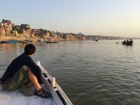 We took a morning boat ride on the Ganges river of Varanasi where pilgrims bathe themselves before worshipping at the Golden Temple of Shiva.