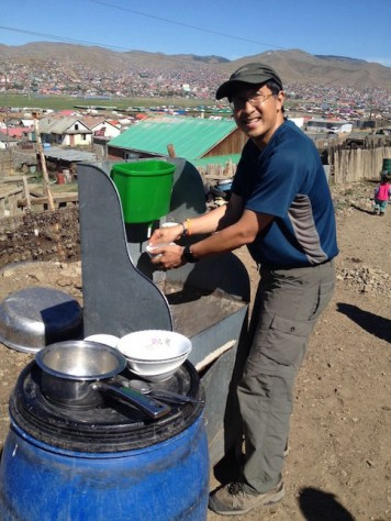 Jonathan often helps to wash dishes after meals.