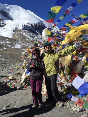 Prayer flags fluttered every directions at the top of the 5416 meter Throng La Pass.