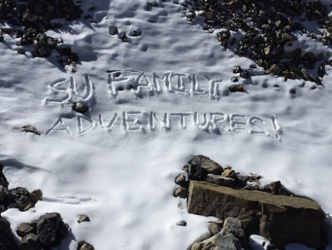 "As a celebration, we etched our slogan ""Su Family Adventures"" in the Annapurna Circuit."