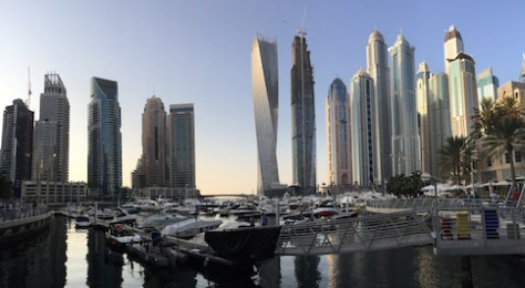 We enjoyed the sunset walk along the harbor walkway of the Dubai Marina.