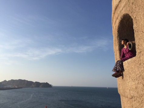 Sometimes one can spot whales and dolphins at the ancient watch tower at the Old Muscat .